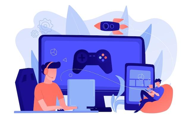 Los jugadores juegan videojuegos en diferentes plataformas de hardware. concepto de juego multiplataforma, multiplataforma y juego cruzado