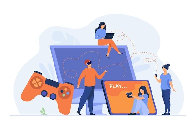 Jugadores que usan diferentes dispositivos y juegan en teléfonos móviles, tabletas, computadoras portátiles, consolas. ilustración de dibujos animados