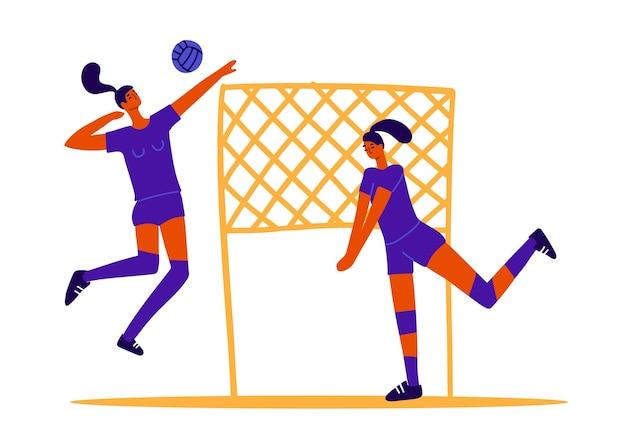 Jugadores de voleibol abstractos dos niñas jugando voleibol juegos deportivos femeninos concepto de juego de pelota wome ...