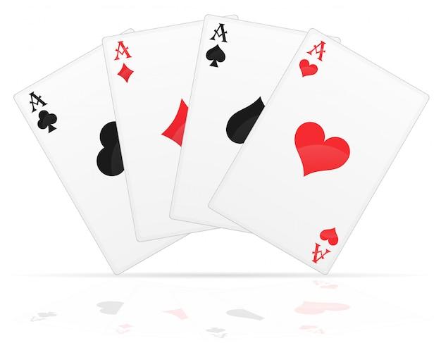 Jugando a las cartas ases de diferentes trajes ilustración vectorial