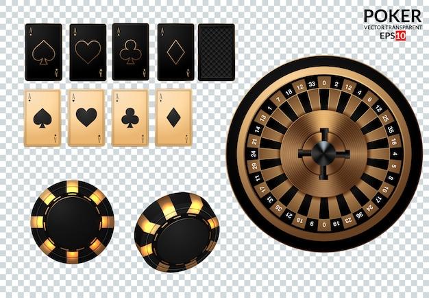Jugando a las cartas y las fichas de póker vuelan al casino.