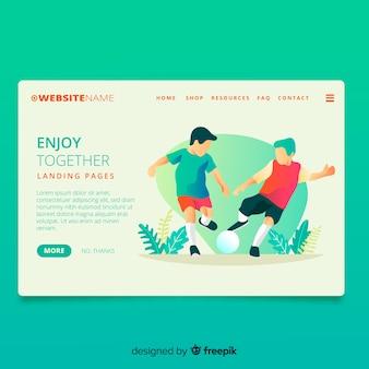 Jugando deportes juntos página de inicio