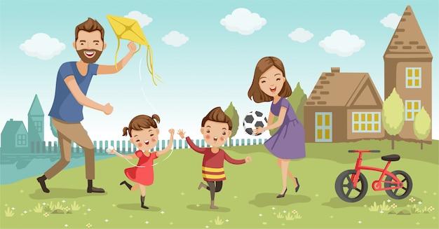 Jugando en familia en el jardín en casa diviértete.