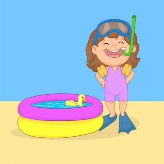 Jugando en una piscina inflable