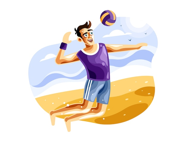 Jugando voleibol de playa vector illustration