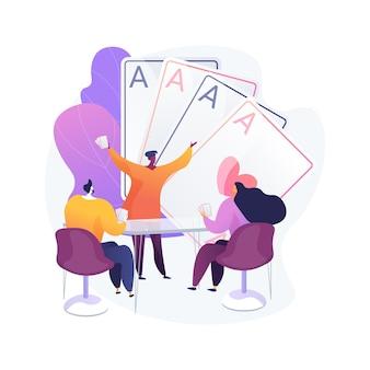 Jugar a las cartas concepto abstracto ilustración vectorial. juegos de cartas familiares, pasar tiempo, jugar con amigos, actividades para sentarse en casa, juegos de azar divertidos legales, permanecer en casa metáfora abstracta de idea de actividad.