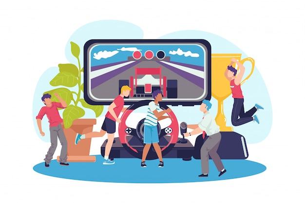Jugar con el concepto de controlador, ilustración. gente de juegos en el fondo de la computadora, jugador de consola. video arcade para pc en tecnología de juegos web, gamepad y joystick.