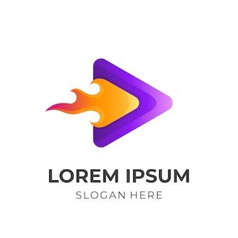 Jugar logo con ilustración de diseño de fuego, iconos de colores 3d