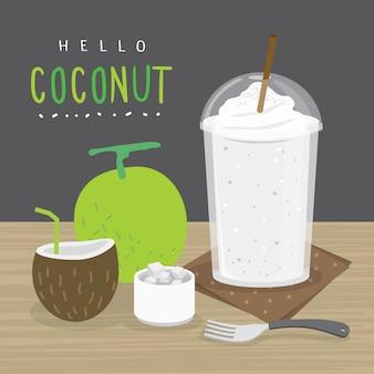 Jugo de coco, beber agua de coco y media rodaja de coco