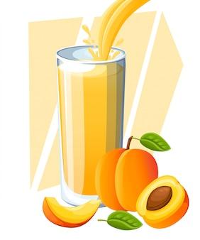 Jugo de durazno. bebida de fruta fresca en vaso. batidos de melocotón. el jugo fluye y salpica en vaso lleno. ilustración sobre fondo blanco. página del sitio web y aplicación móvil