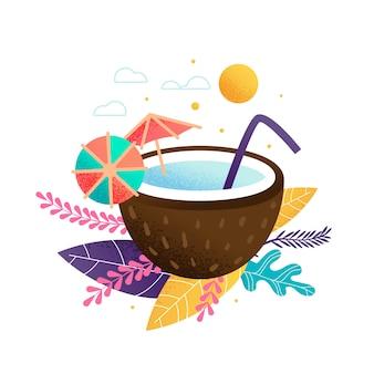 Jugo exótico cóctel fresco en coco. decoracion de paja y paraguas
