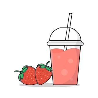 Jugo de fresa o batido en la ilustración de icono de vaso de plástico para llevar. bebidas frías en vasos de plástico con icono plano de hielo