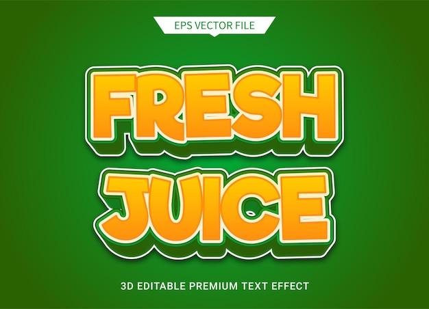 Jugo fresco efecto de estilo de texto editable 3d vector premium