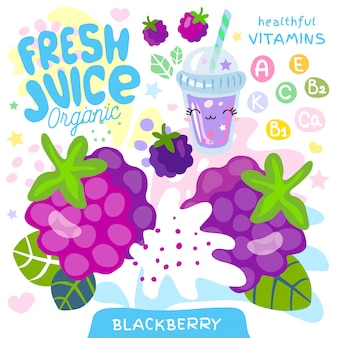 Jugo fresco de vidrio orgánico lindo personaje kawaii. resumen jugoso splash fruta vitamina niños divertidos estilo. blackberry berry bayas yogur batidos taza. ilustración.