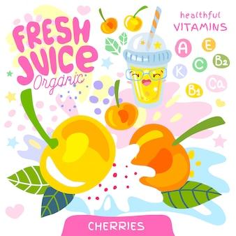 Jugo fresco de vidrio orgánico lindo personaje kawaii. resumen jugoso splash fruta vitamina niños divertidos estilo. cerezas baya bayas yogur batidos taza. ilustración.