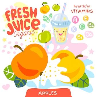Jugo fresco de vidrio orgánico lindo personaje kawaii. resumen jugoso splash fruta vitamina niños divertidos estilo. taza de batidos de yogur de manzanas. ilustración vectorial