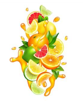 Jugo de frutas cítricas gotas composición colorida
