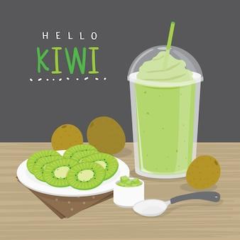 Jugo de kiwi, beba agua de kiwi y media rodaja de kiwi