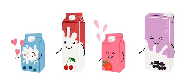 Jugo de leche de anime. cajas de bebidas japonesas lindas, lácteos con frutas y bayas. adorable ilustración de vector de desayuno de estilo asiático