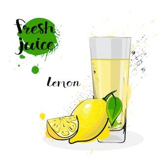 Jugo de limón fresco dibujado a mano acuarela frutas y vidrio sobre fondo blanco