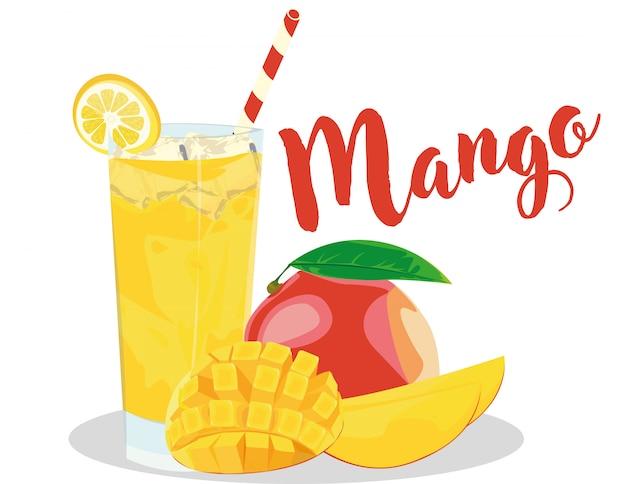 Jugo de mango de hielo en vaso con limon