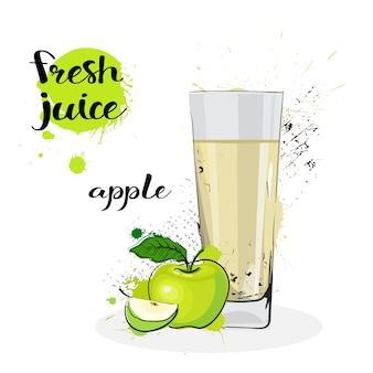 Jugo de manzana fresca dibujado a mano acuarela fruta y vidrio sobre fondo blanco