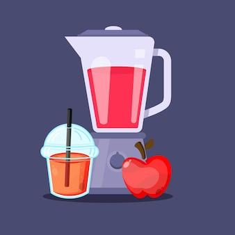 Jugo de manzana, con, licuadora, plástico, vaso, icono