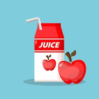 Jugo de manzana con logotipo de empaque de caja de icono