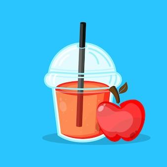 Jugo de manzana con vaso de plástico