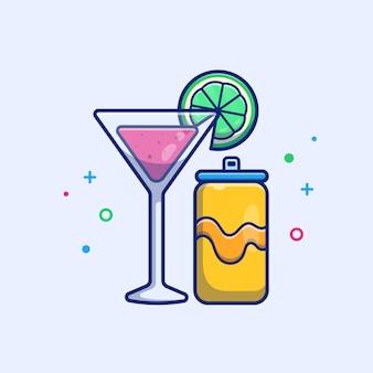 Jugo de melón de agua con ilustración de soda de naranja. comida y bebida de verano. concepto de vacaciones blanco aislado