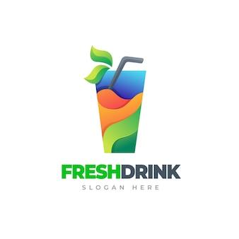 Jugo moderno logotipo colorido degradado bebida fresca logotipo colorido