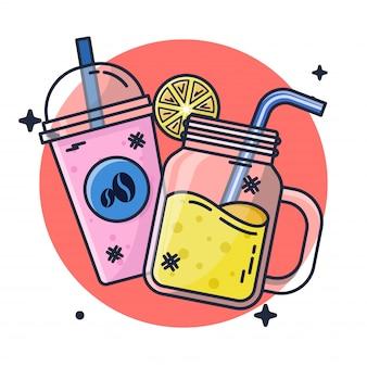 Jugo de naranja y café helado