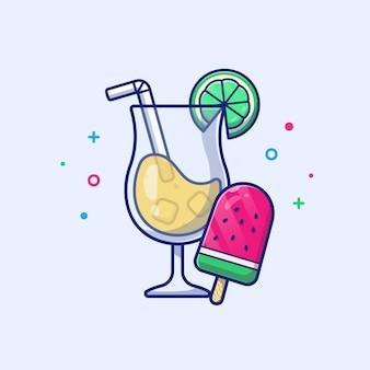Jugo de naranja con melón de agua ilustración. comida y bebida de verano. concepto de vacaciones blanco aislado