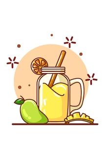 Un jugo con sabor a mango y algunos mangos.