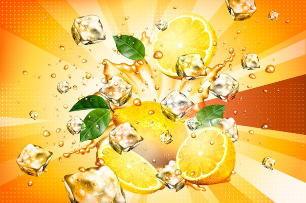 Jugo de salpicaduras dinámico con fruta en rodajas y elemento de cubitos de hielo.