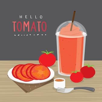 Jugo de tomate, beber agua de tomate y tomate de media rebanada