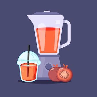Jugo de tomate con icono de vaso de plástico licuadora