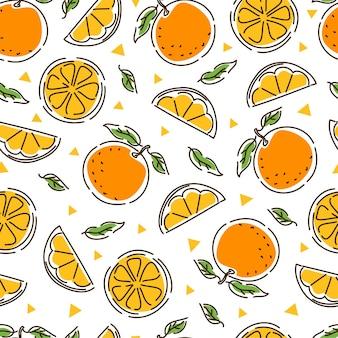 Jugosa mandarina de patrones sin fisuras. rodajas y hojas de mandarina. geometría. fondo abstracto dibujado a mano.