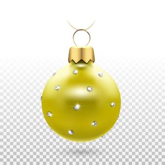 Juguete de árbol de navidad: bolas con diamantes brillantes.