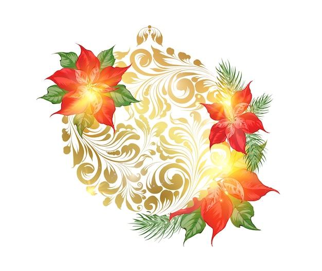 Juguete de feliz navidad con flores de nochebuena