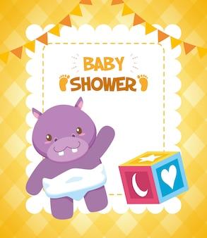 Juguete hipopótamo y cubo para tarjeta baby shower