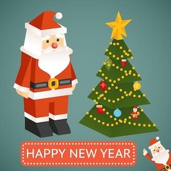 Juguete moderno de santa claus con árbol de navidad. placa con la prueba