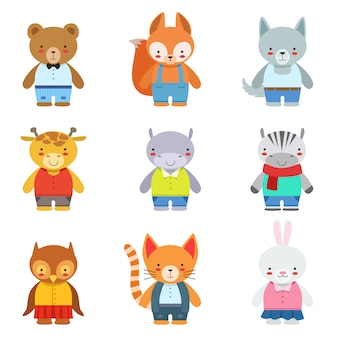 Juguete niños animales en ropa