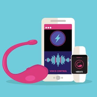 Juguete sexual vibrador con la aplicación para controlar las vibraciones.