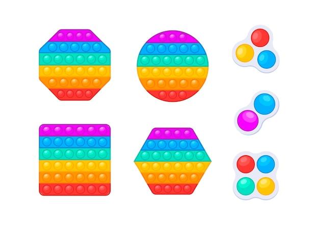 Los juguetes antiestrés lo hacen estallar y un simple hoyuelo. ilustración vectorial. juguetes relajantes con burbujas de empuje.