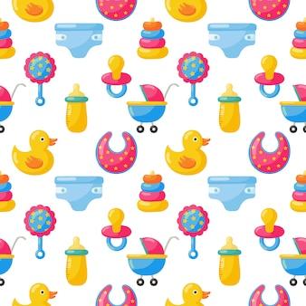 Juguetes para bebés y ropa de patrones sin fisuras. artículos recién nacidos
