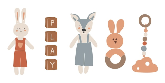 Juguetes boho para bebés, juguetes boho abstractos, lindo juguete mínimo, juguete, juego de juguetes, elementos de madera para niños