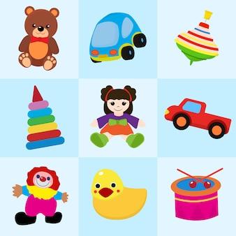 Juguetes coloridos en estilo de dibujos animados para niños ilustración de patrones sin fisuras.