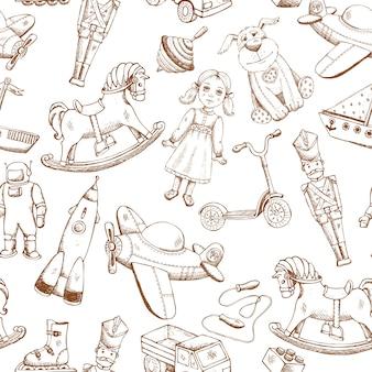 Juguetes dibujados a mano vintage de patrones sin fisuras con muñeca avión cohete perinola