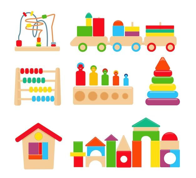 Juguetes educativos montessori de madera brillantes lógicos para niños. vector
